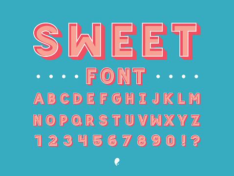 Sweet font. Vector alphabet
