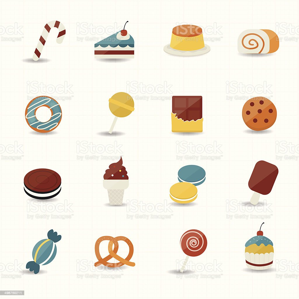 Sweet Food and Sweetmeat Icons vector art illustration