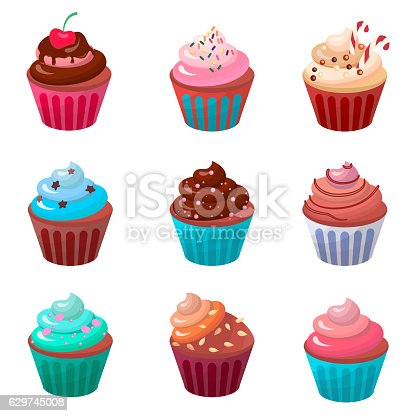 Sweet food chocolate cake. Creamy cupcake set isolated on white. Bakery cupcake with cherry. Vector illustration candy concept