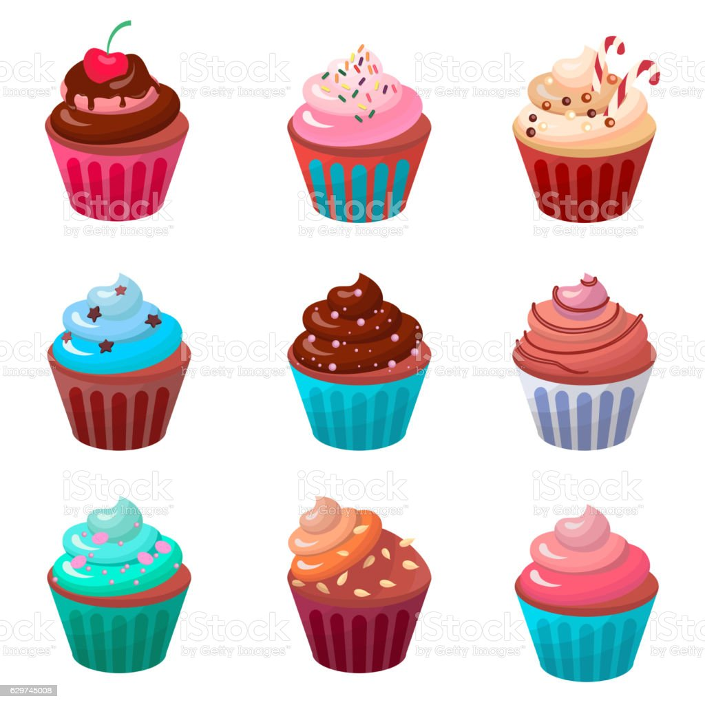 Sweet food chocolate creamy cupcake set isolated vector illustration vector art illustration