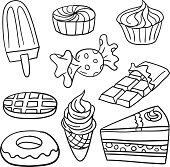 9 sketch drawing of Sweet food in line art style.