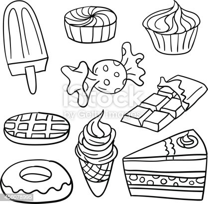 Sweet Food Collection In Black And White Stock Vector Art ...