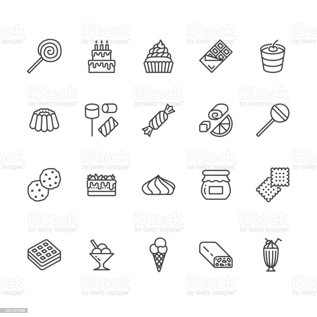 Sweet food flat line icons set. Pastry vector illustrations lollipop, chocolate bar, milkshake, cookie, birthday cake, marshmallow. Thin signs for desserts menu. Pixel perfect 64x64. Editable Strokes Sweet food flat line icons set. Pastry vector illustrations lollipop, chocolate bar, milkshake, cookie, birthday cake, marshmallow. Thin signs for desserts menu. Pixel perfect 64x64. Editable Strokes. Backgrounds stock vector