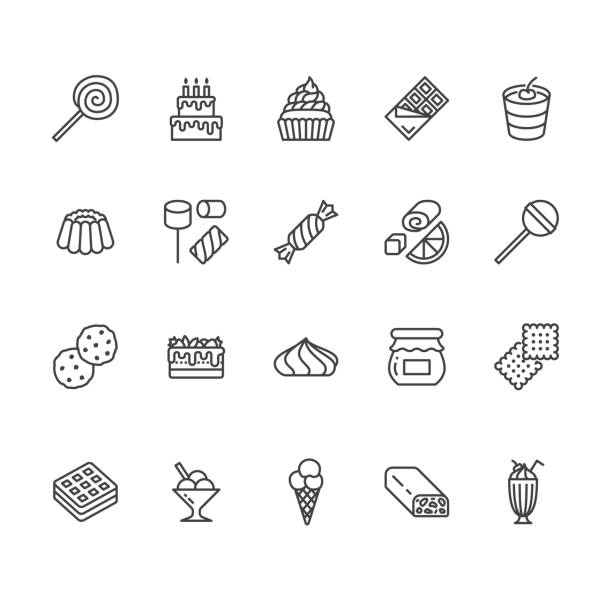 ilustrações de stock, clip art, desenhos animados e ícones de sweet food flat line icons set. pastry vector illustrations lollipop, chocolate bar, milkshake, cookie, birthday cake, marshmallow. thin signs for desserts menu. pixel perfect 64x64. editable strokes - bolo de bolacha
