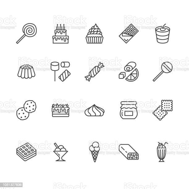 Sweet Food Flat Line Icons Set Pastry Vector Illustrations Lollipop Chocolate Bar Milkshake Cookie Birthday Cake Marshmallow Thin Signs For Desserts Menu Pixel Perfect 64x64 Editable Strokes Stock Illustration - Download Image Now