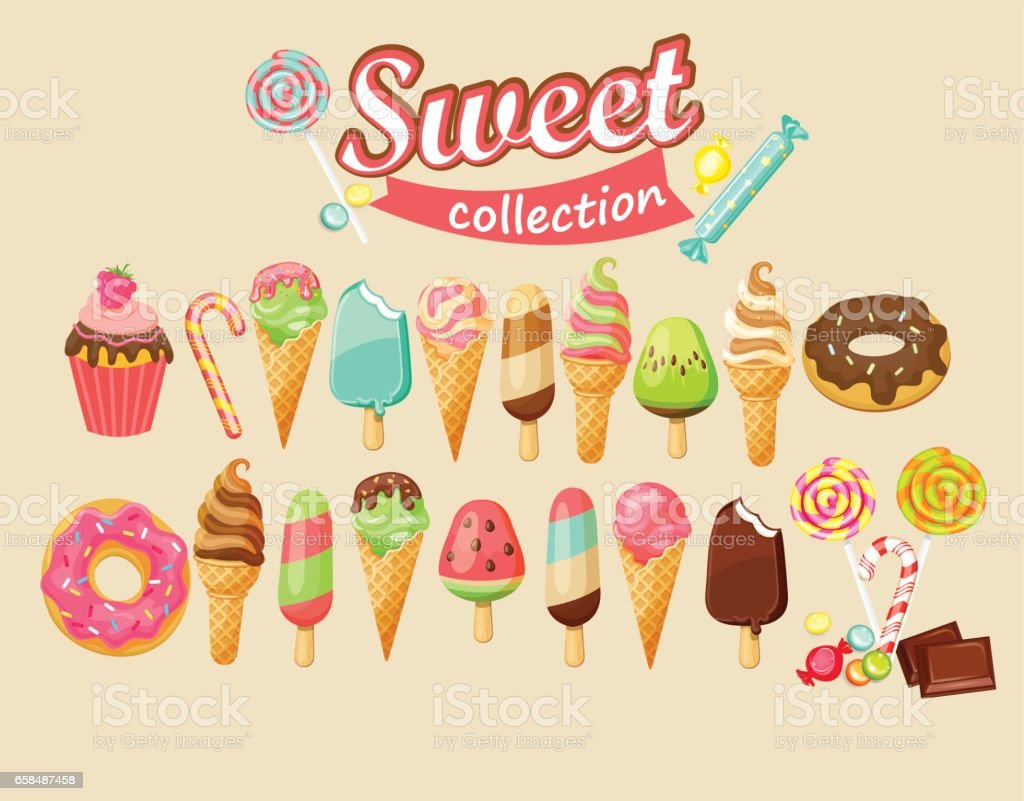 Sweet food icon collection. vector art illustration
