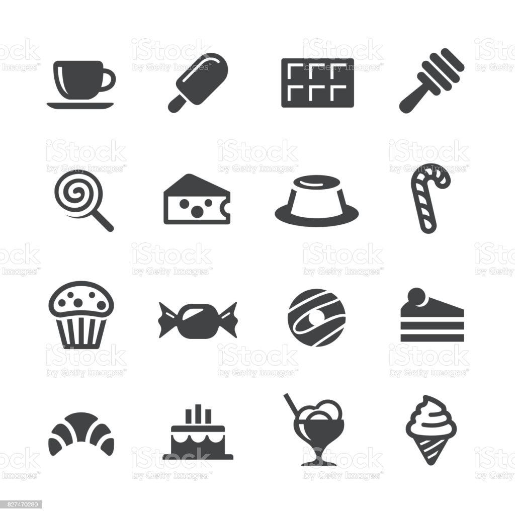 Icônes de nourriture sucrée - Acme série - Illustration vectorielle