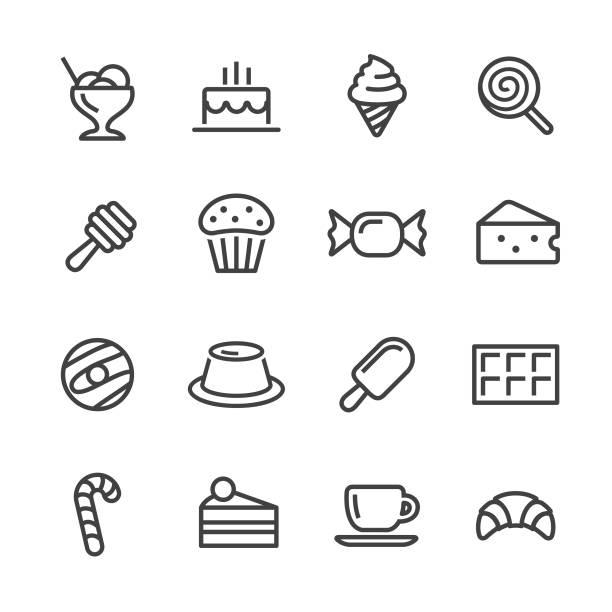 illustrazioni stock, clip art, cartoni animati e icone di tendenza di sweet food icons - line series - miele dolci