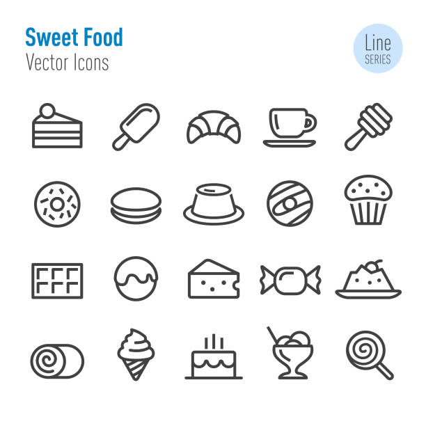Sweet Food Icons - Vector Line Series Sweet Food, dessert, pudding stock illustrations