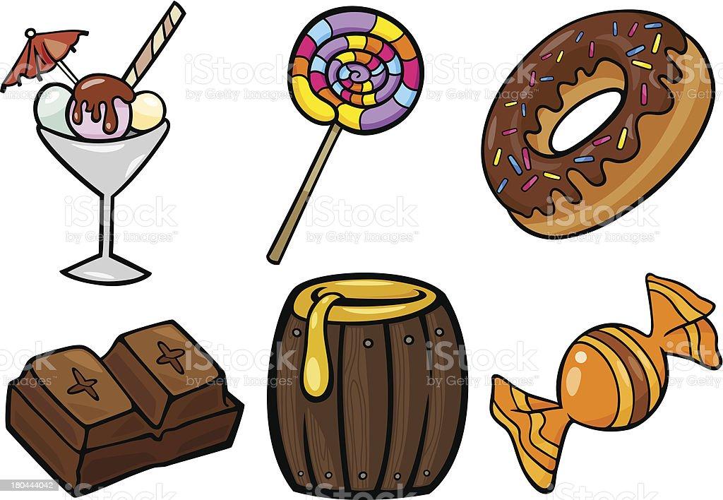 sweet food objects cartoon illustration set royalty-free stock vector art
