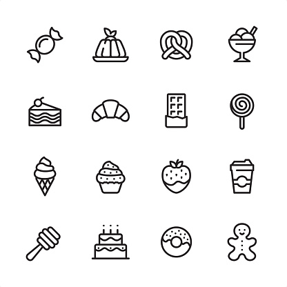 Sweet Food - outline icon set