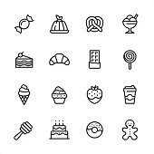 16 line black on white icons / Set #63 / Sweet Food /\nPixel Perfect Principle - all the icons are designed in 48x48pх square, outline stroke 2px.\n\nFirst row of outline icons contains: \nHard Candy, Gelatin Dessert, Pretzel, Flavored Ice Cream;\n\nSecond row contains: \nSlice of Cake, Croissant, Chocolate Bar, Lollipop;\n\nThird row contains: \nIce Cream Cone, Cupcake, Strawberry in Chocolate, Take Out Coffee Paper Cup; \n\nFourth row contains: \nHoney Dipper, Birthday Cake, Donut, Gingerbread Man.\n\nComplete Inlinico collection - https://www.istockphoto.com/collaboration/boards/2MS6Qck-_UuiVTh288h3fQ