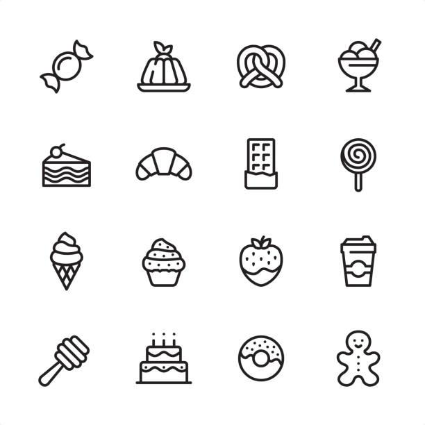 sweet food - zestaw ikon konturu - ciasto stock illustrations