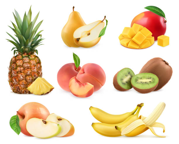 ilustrações de stock, clip art, desenhos animados e ícones de sweet fruit. banana, pineapple, apple, mango, kiwi fruit, peach, pear. whole and pieces. realistic illustration. 3d vector icons set - kiwi
