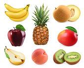Sweet fruits. Banana, pineapple, apple, melon, mango, kiwi fruit, peach, pear. 3D vector icons set. Realistic illustrations