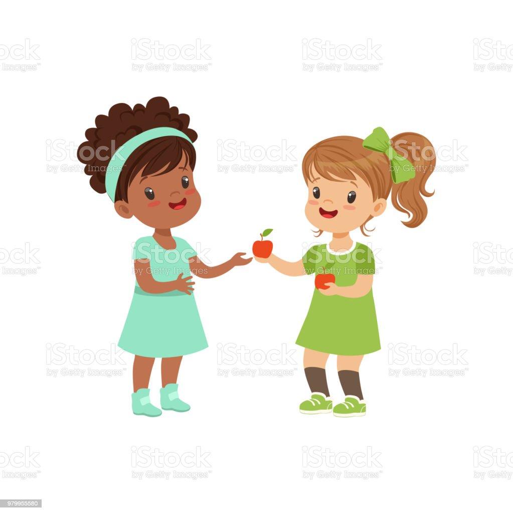 Süße Mädchen, das einen Apfel, ein anderes Mädchen, Kinder Obst Vektor-Illustration auf weißem Hintergrund – Vektorgrafik