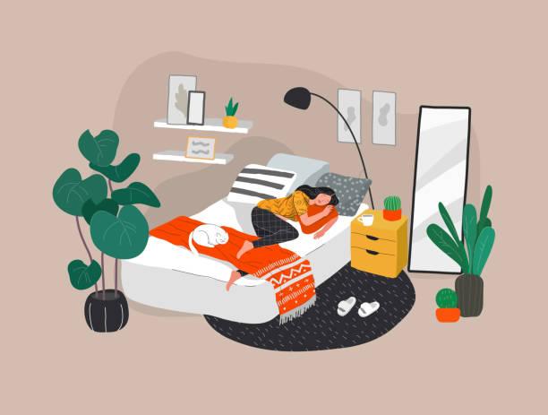 illustrations, cliparts, dessins animés et icônes de fille douce dormant dans le lit avec le chat blanc de détente. la vie quotidienne et la scène de routine quotidienne par la jeune femme dans la chambre intérieure confortable scandinave et de modèle avec des homeplants. vecteur de dessin animé - femme seule s'enlacer