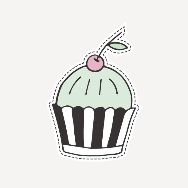 Sweet hand drawn cupcake. Isolated vector illustration in patch style. Great for stickers, embroidery, badges. vector art illustration