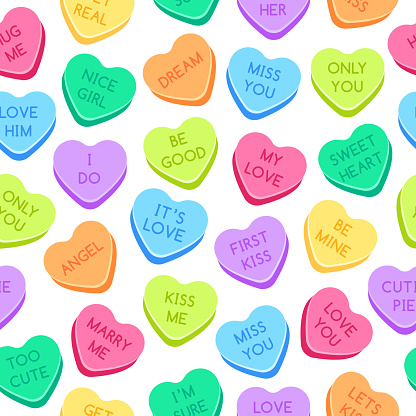 Sweet heart candies pattern. Colorful valentines hearts, love conversation candies and sweetheart candy seamless vector illustration