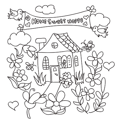 Sweet Home Doodles Coloring Page Stock Illustration