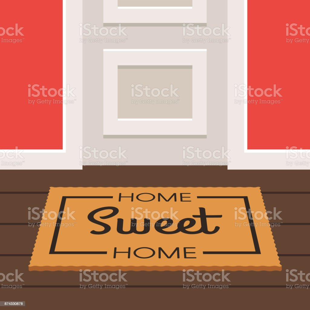 Sweet home doormat and door vector art illustration