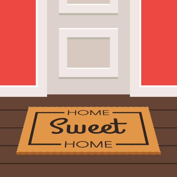 illustrations, cliparts, dessins animés et icônes de porte et douce maison paillasson - nouveau foyer