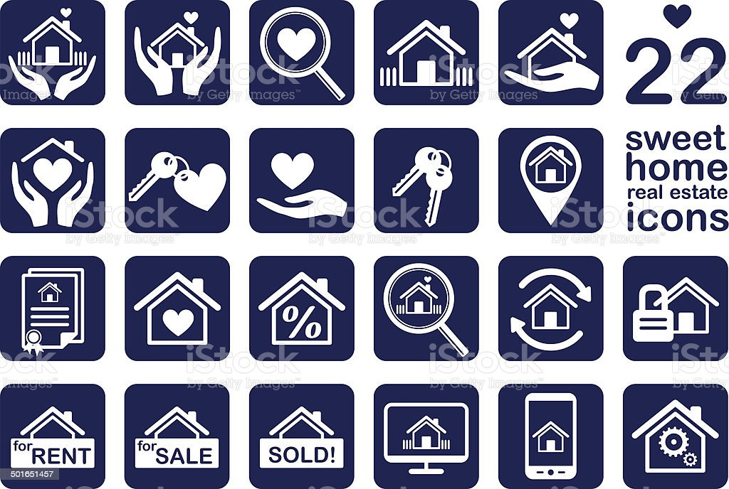 sweet home ,real estate icon set vector art illustration
