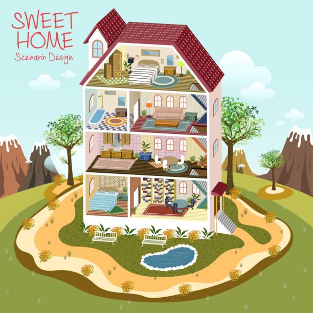 sweet home scenario design lovely sweet home scenario design in 3d isometric flat style dollhouse stock illustrations