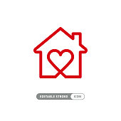 Sweet home - outline house and heart symbol. Love and family, social work and charity vector icon