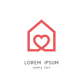 Sweet home - outline house and heart symbol. Love and family, social work and charity vector icon.