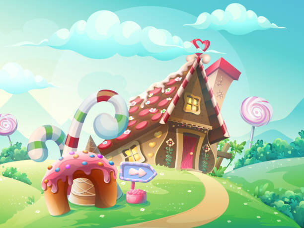 sweet house of cookies and candy - sweet food stock illustrations, clip art, cartoons, & icons