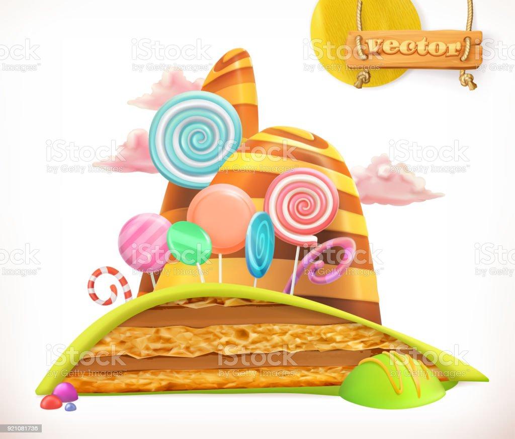 Sweet Land Kuchen Kuchen Sussigkeiten 3d Vektor Icon Stock Vektor Art