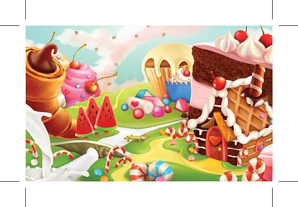 ilustraciones, imágenes clip art, dibujos animados e iconos de stock de fondo de vector de paisaje, dulce - postre
