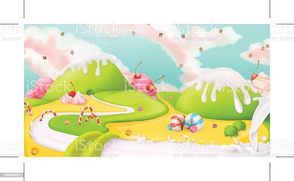Joli paysage fond illustration - Illustration vectorielle