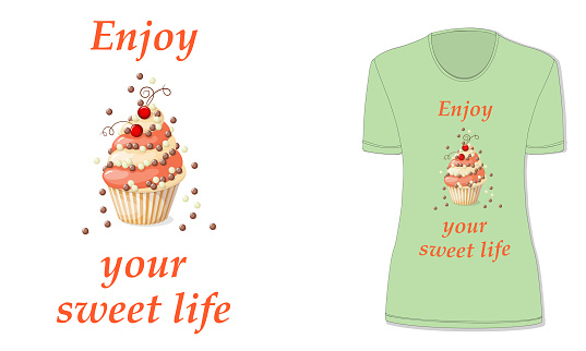 sweet life with cupcake and red currants, t-shirt mockup