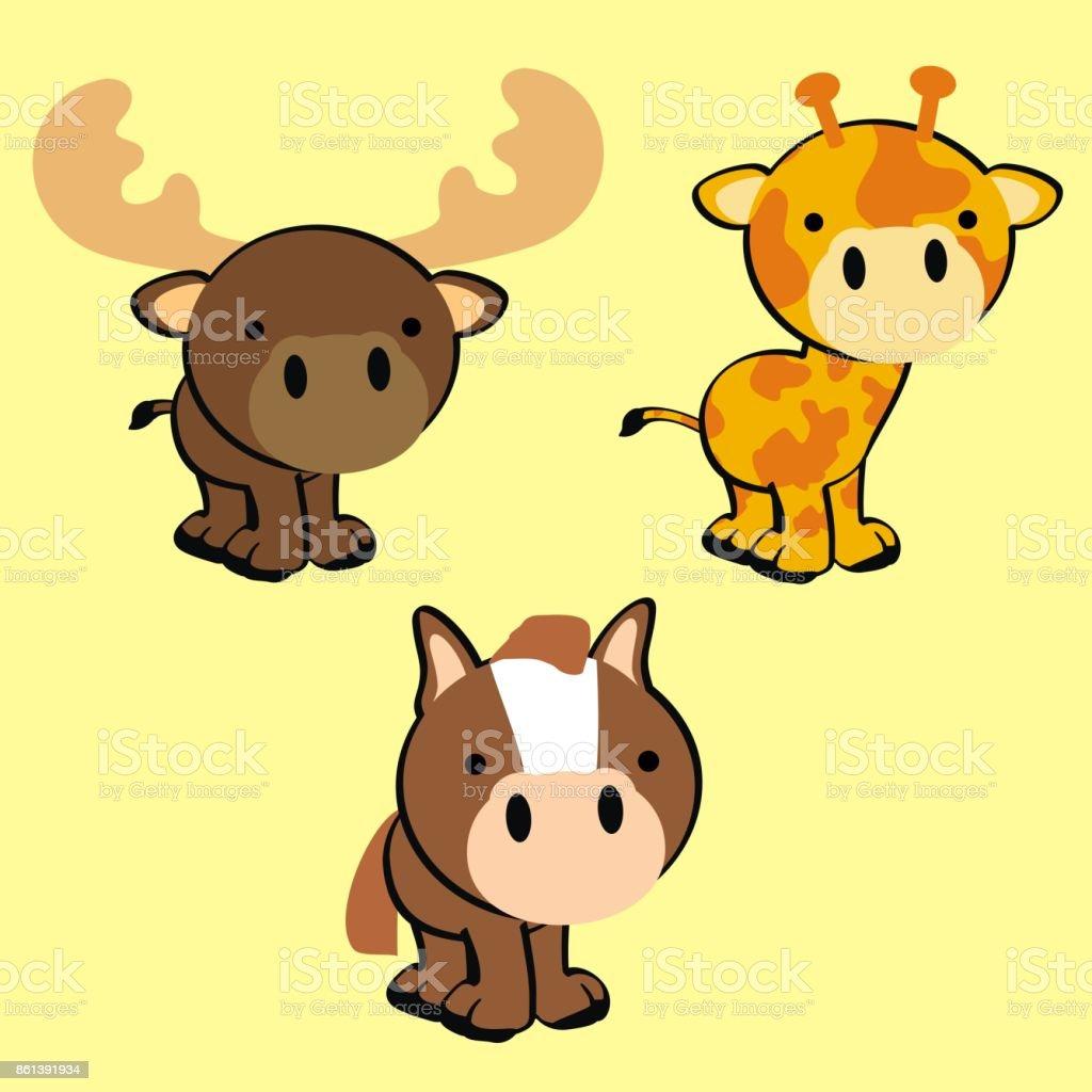 sweet little baby animals cartoon set