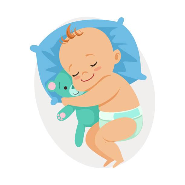 bildbanksillustrationer, clip art samt tecknat material och ikoner med söta lilla bebis sover i hans säng och kramar nallebjörn, färgglada tecknad karaktär vektor illustration - baby sleeping
