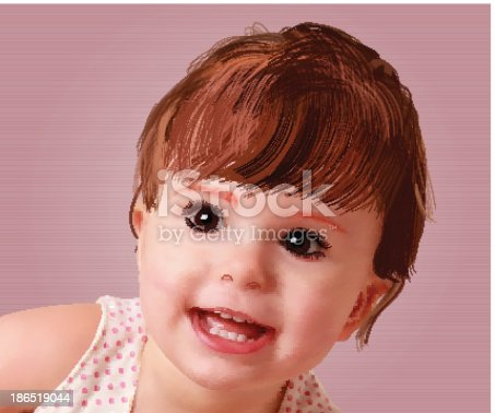 Sweet Little Baby Vector Portrait Stock Vector Art & More Images of Baby - Human Age