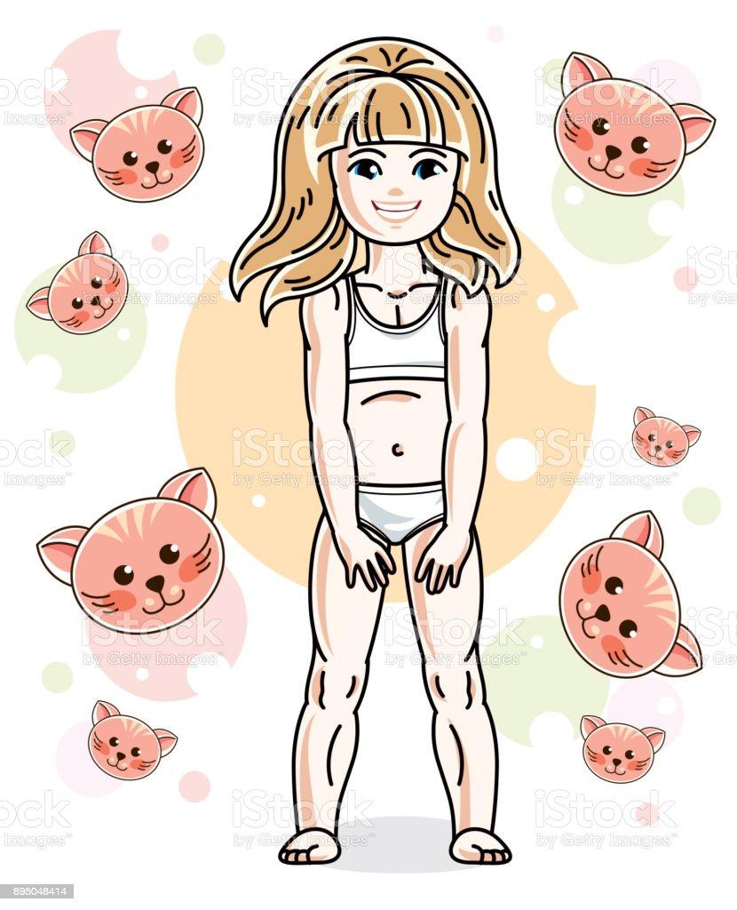 niedliche blonde madchen rosa unterwasche hoschen