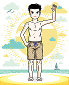 Sweet little boy young teen standing in colorful stylish beach shorts. Vector attractive kid illustration. Fashion theme clipart.