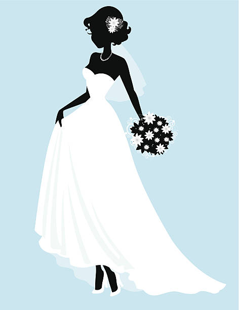 Sweet Little Bride SIlhouette The silhouette of a sweet little bride carrying her bouquet and holding up her dress to walk revealing her chic high heels. Check out the details in the bouquet and hair flowers.  wedding dress stock illustrations