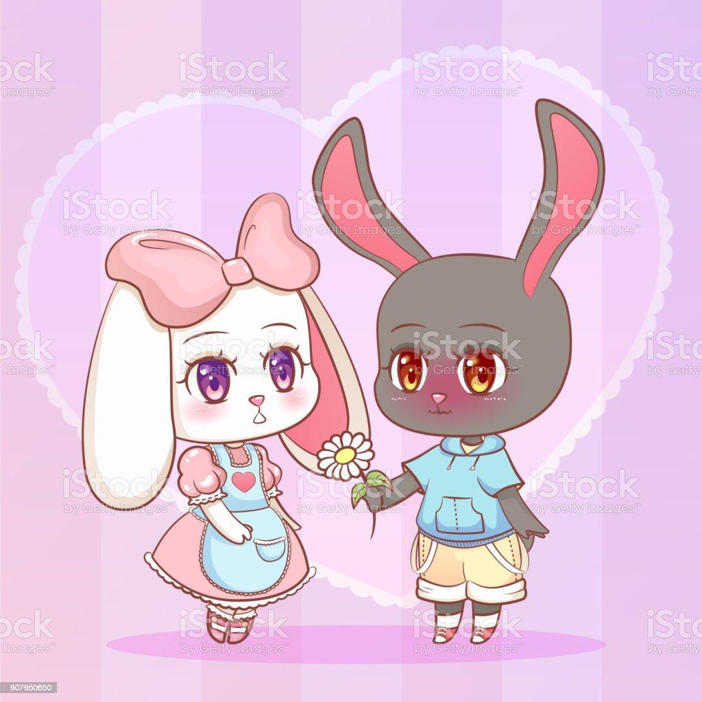 Anime Boy And Girl sweet little cute kawaii anime cartoon puppy bunny rabbit