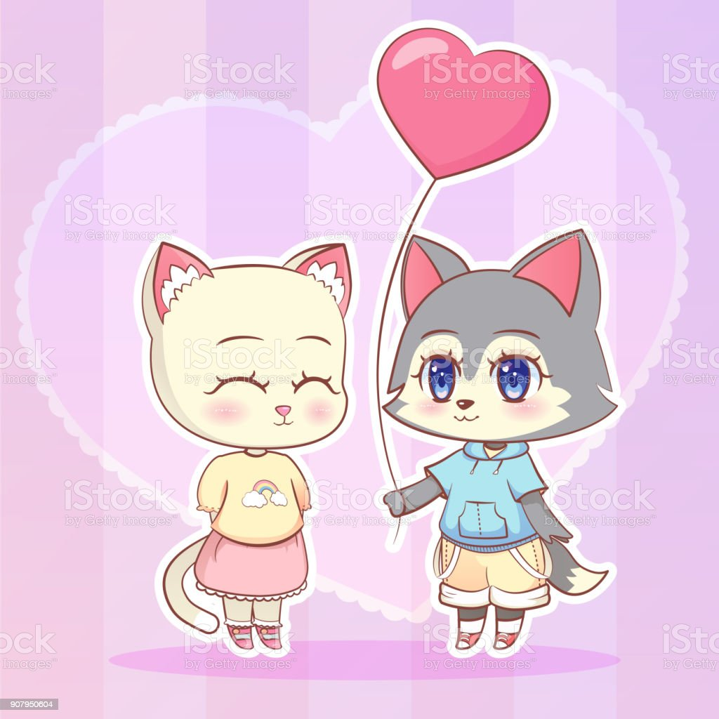 Sweet Little Kawaii Cute Anime Dessin Anime Chat Et Garcon De Chiot