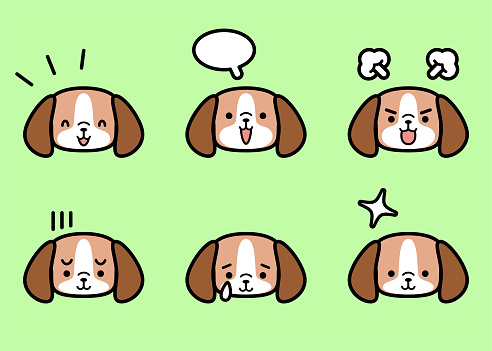 Sweet little dog icon set with six facial expressions in color pastel tones