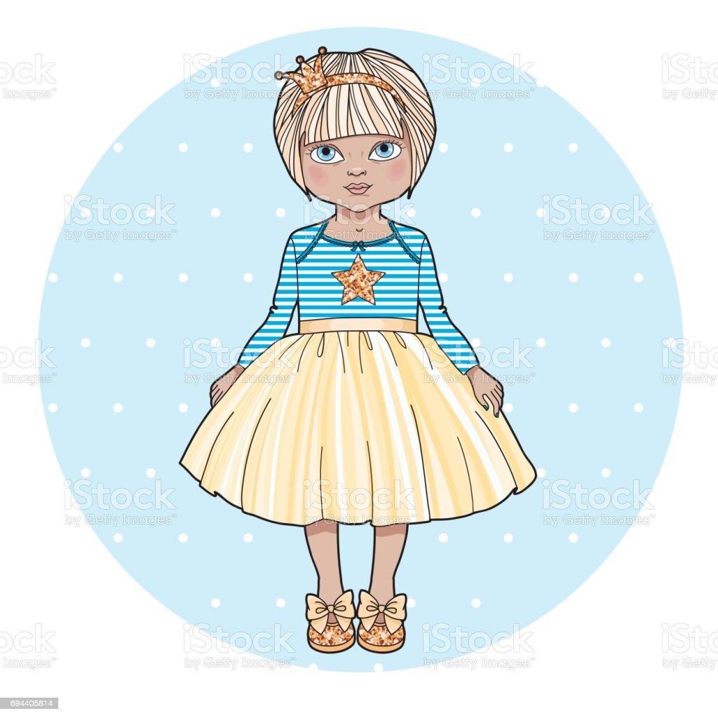 Douce Petite Fille Personnage De Dessin Animé Mignonne