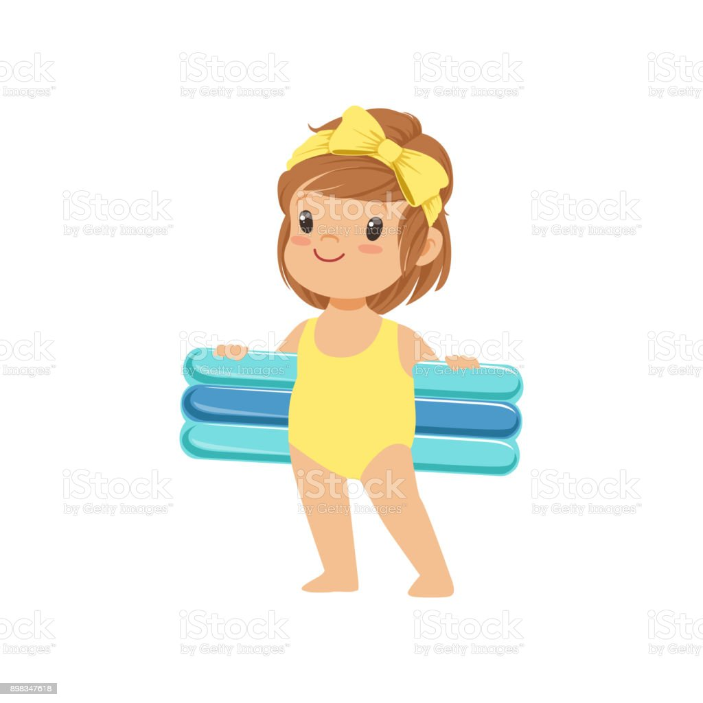 Sweet little girl in a yellow swimsuit holding blue inflatable mattress, kid playing at the beach, happy infants outdoor activity on summer vacations vector Illustration vector art illustration