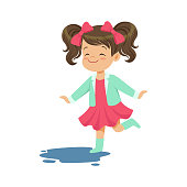 Sweet little girl jumping and splashing through the puddle wearing rubber boots cartoon vector Illustration on a white background