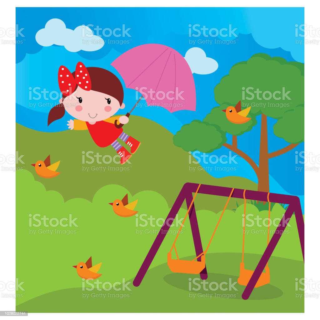 Susses Kleines Madchen Sieht Glucklich Und Frohlich Fliegen Mit