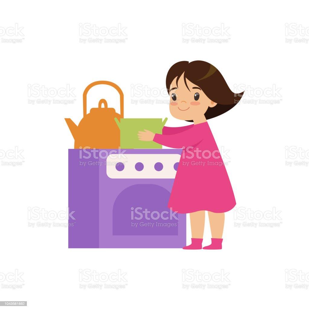 Süße kleine Mädchen spielen mit Spielzeug Küche Backofen Vektor Illustration auf weißem Hintergrund – Vektorgrafik