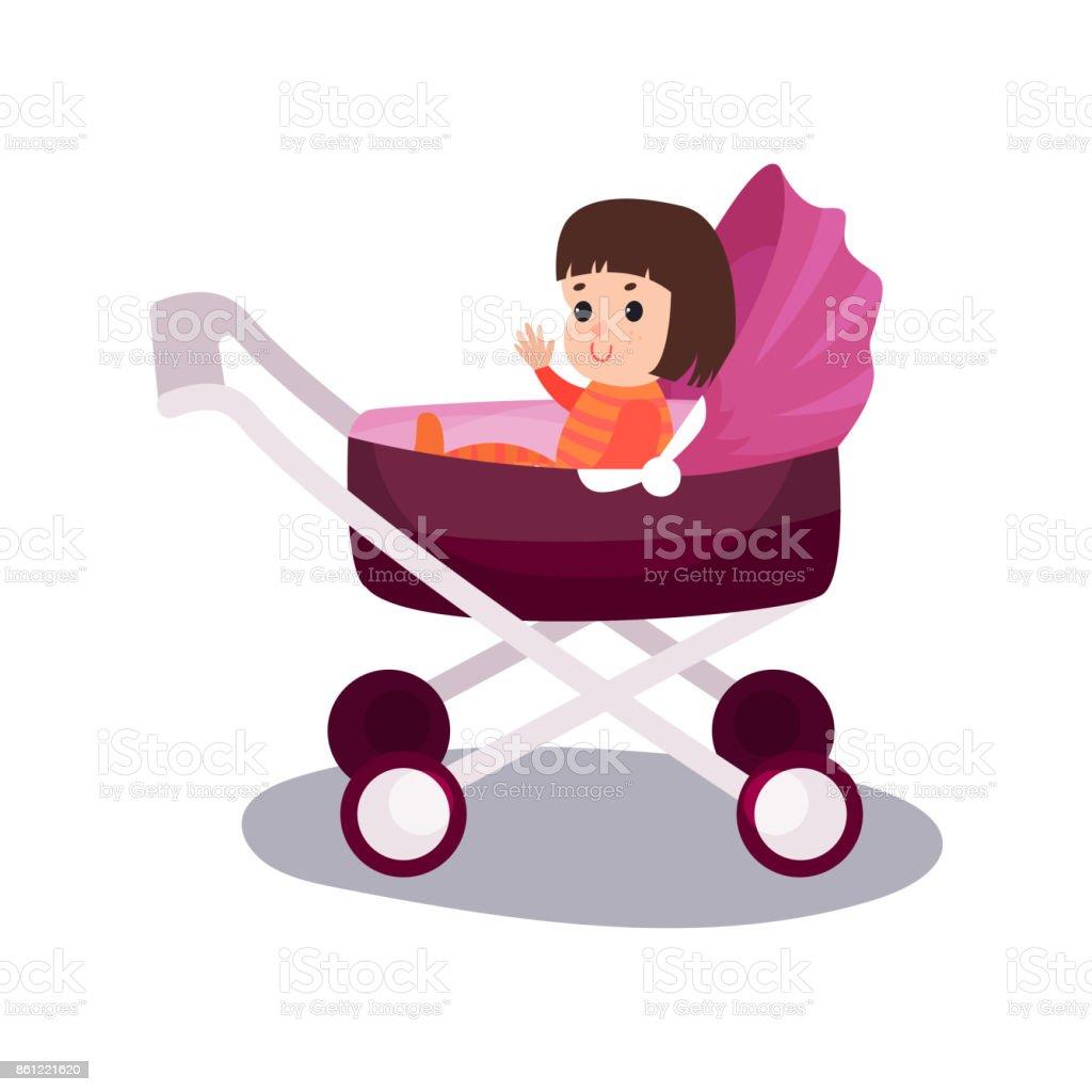 Douce Petite Fille Assise Dans Une Poussette De Bébé Moderne